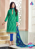 NS11136 Sea Green and Blue Daily Wear Silk Chanderi Cotton Straight Suit