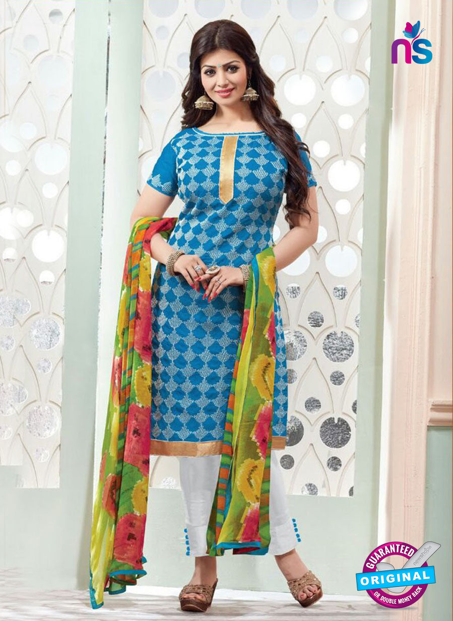 NS11137 Sky Blue and White Daily Wear Silk Chanderi Cotton Straight Suit