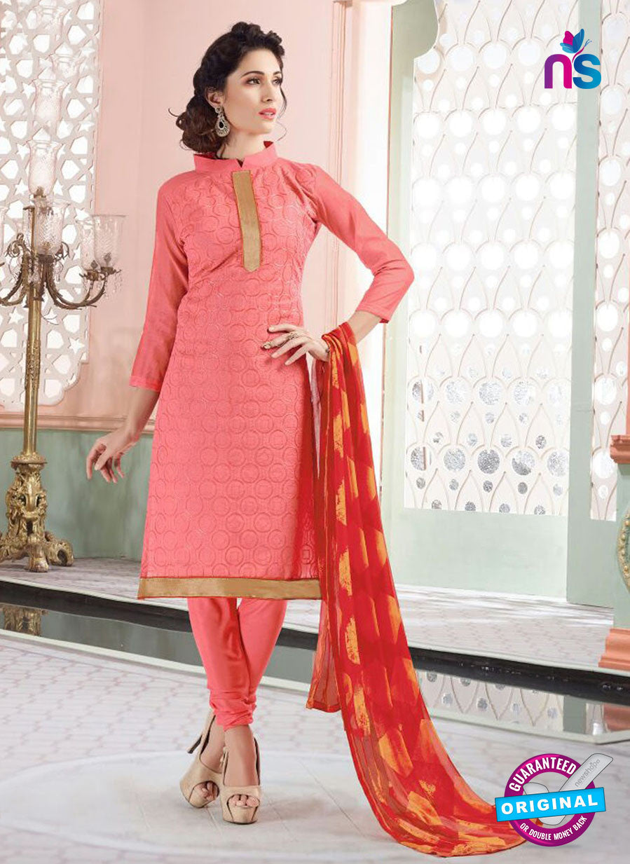 NS11138 Peach Daily Wear Silk Chanderi Cotton Straight Suit