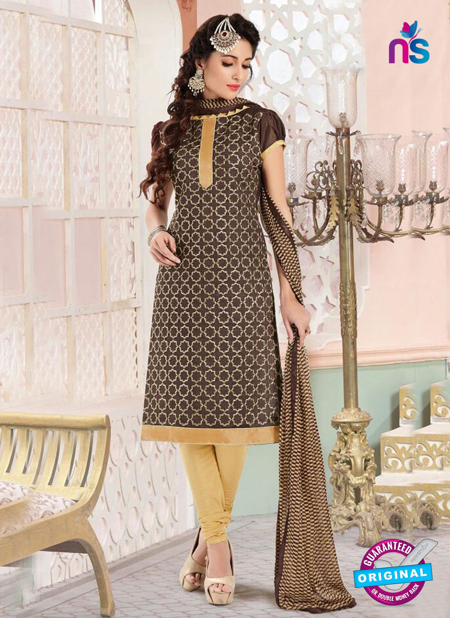 NS11139 Brown and Beige Daily Wear Silk Chanderi Cotton Straight Suit