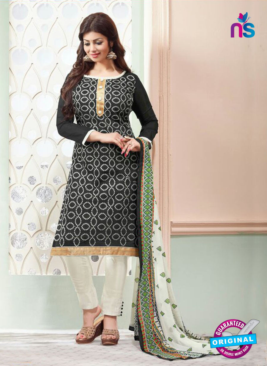 NS11140 Black and White Daily Wear Silk Chanderi Cotton Straight Suit