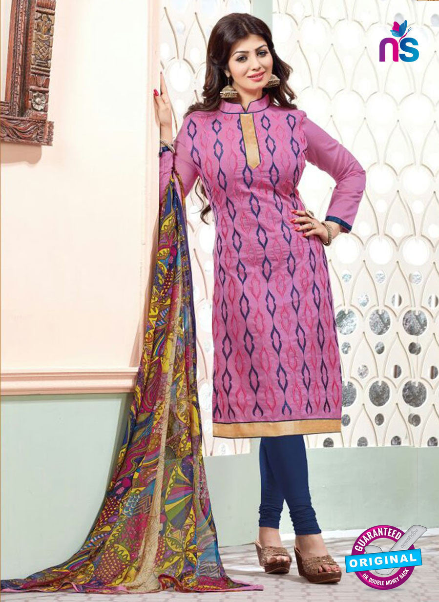 NS11141 Pink and and Blue Daily Wear Silk Chanderi Cotton Straight Suit