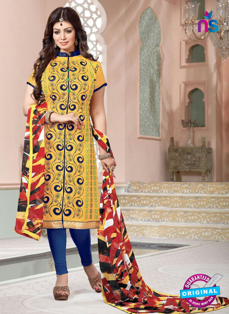 NS11142 Yellow and Blue Daily Wear Silk Chanderi Cotton Straight Suit