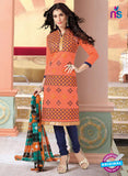 NS11143 Orange and Blue Daily Wear Silk Chanderi Cotton Straight Suit