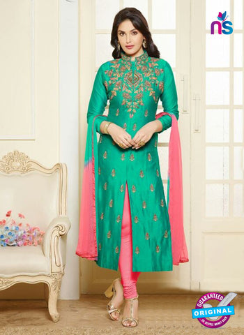 AZ 5175 Sea Green Glace Cotton Party Wear Suit