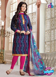 NS11144 Blue and Magenta Daily Wear Silk Chanderi Cotton Straight Suit