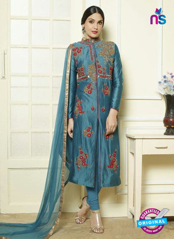 AZ 5182 Blue Glace Cotton Party Wear Suit