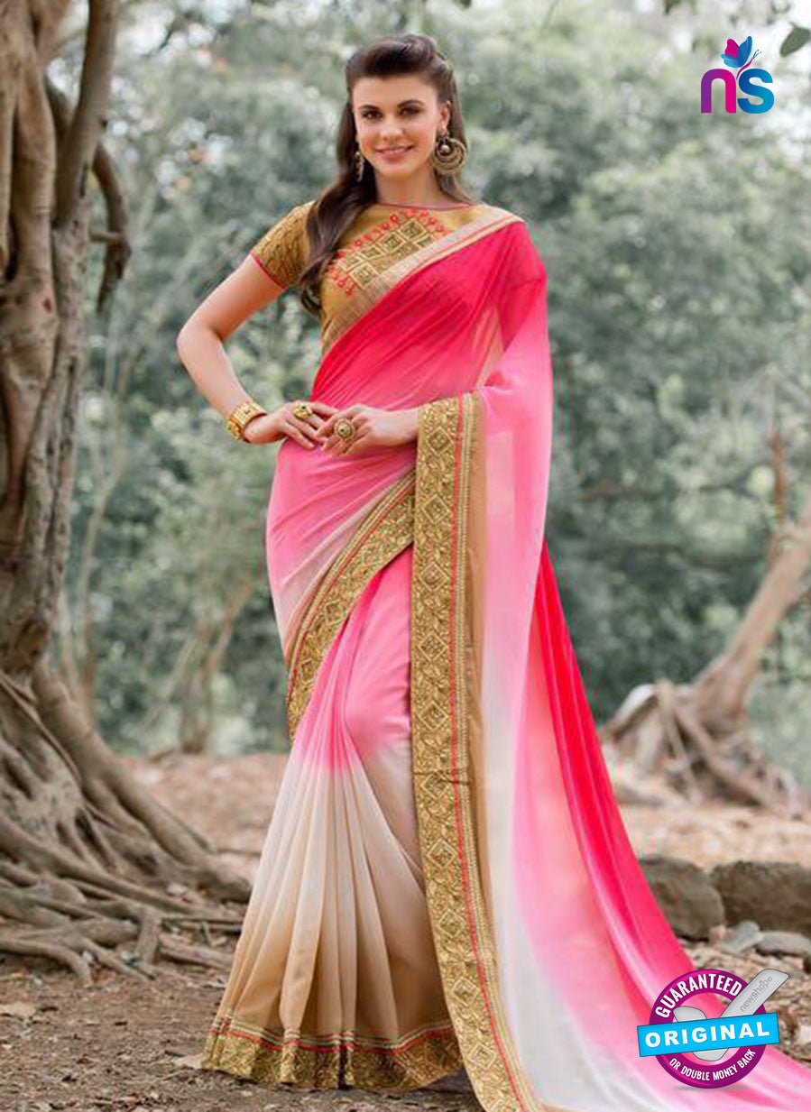AZ 3357 Pink and Beige Georgette Fancy Saree