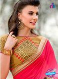 AZ 3357 Pink and Beige Georgette Fancy Saree - Sarees - NEW SHOP