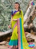 AZ 3361 Green and Sky Blue Georgette Fancy Saree