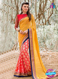 AZ 3362 Orange Georgette Fancy Saree