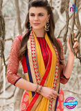 AZ 3362 Orange Georgette Fancy Saree - Sarees - NEW SHOP