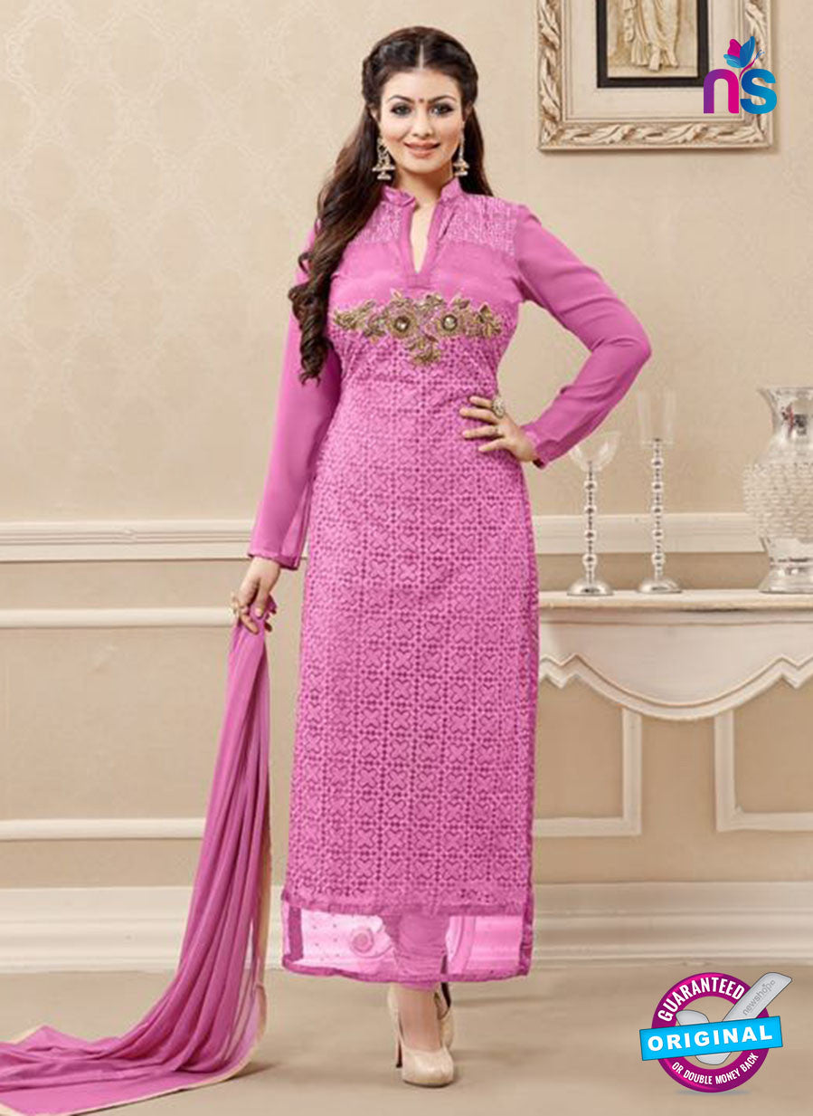 SC 13729 Pink Color Georgette Party Wear Straight Suit