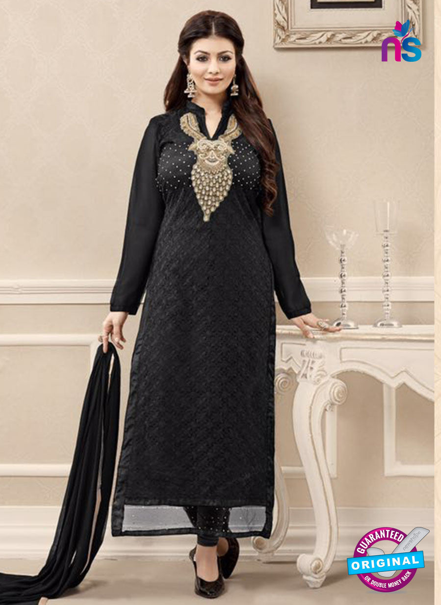 SC 13721 Black Color Georgette Party Wear Straight Suit