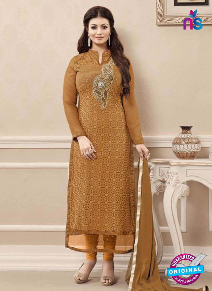 SC 13728 Brown Color Georgette Party Wear Straight Suit