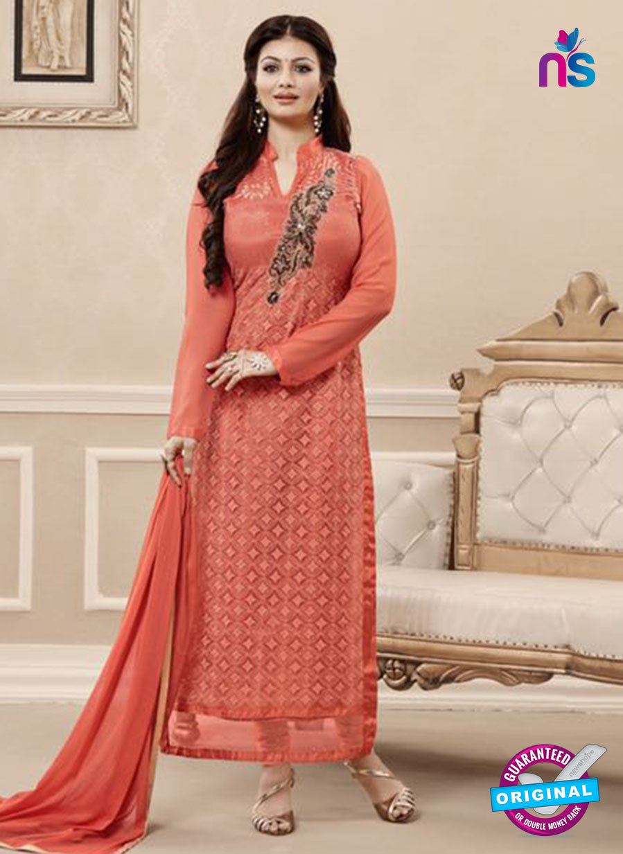 SC 13724 Peach Color Georgette Party Wear Straight Suit