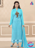 SC 13723 Sky Blue Color Georgette Party Wear Straight Suit