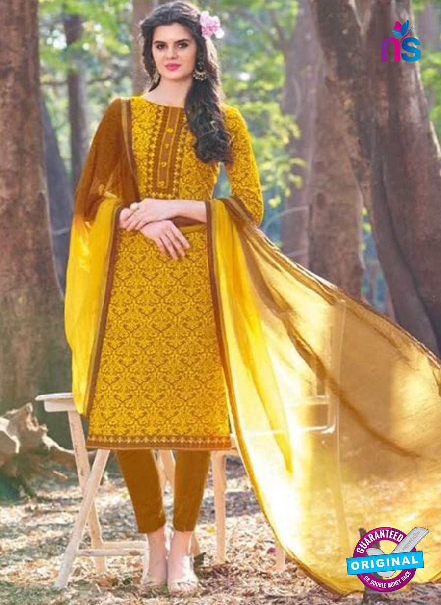 KalaKirti 2501 Yellow Cotton Designer Suit