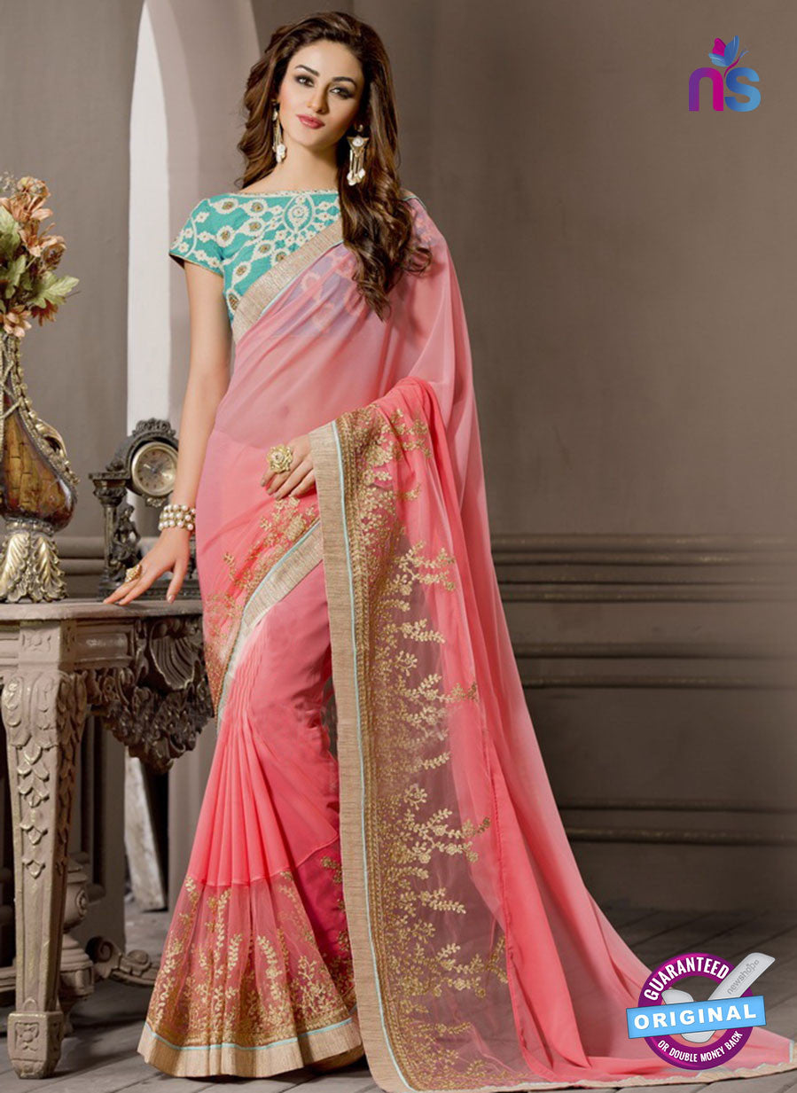 AZ 2283 Peach Georgette Fancy Party Wear Saree