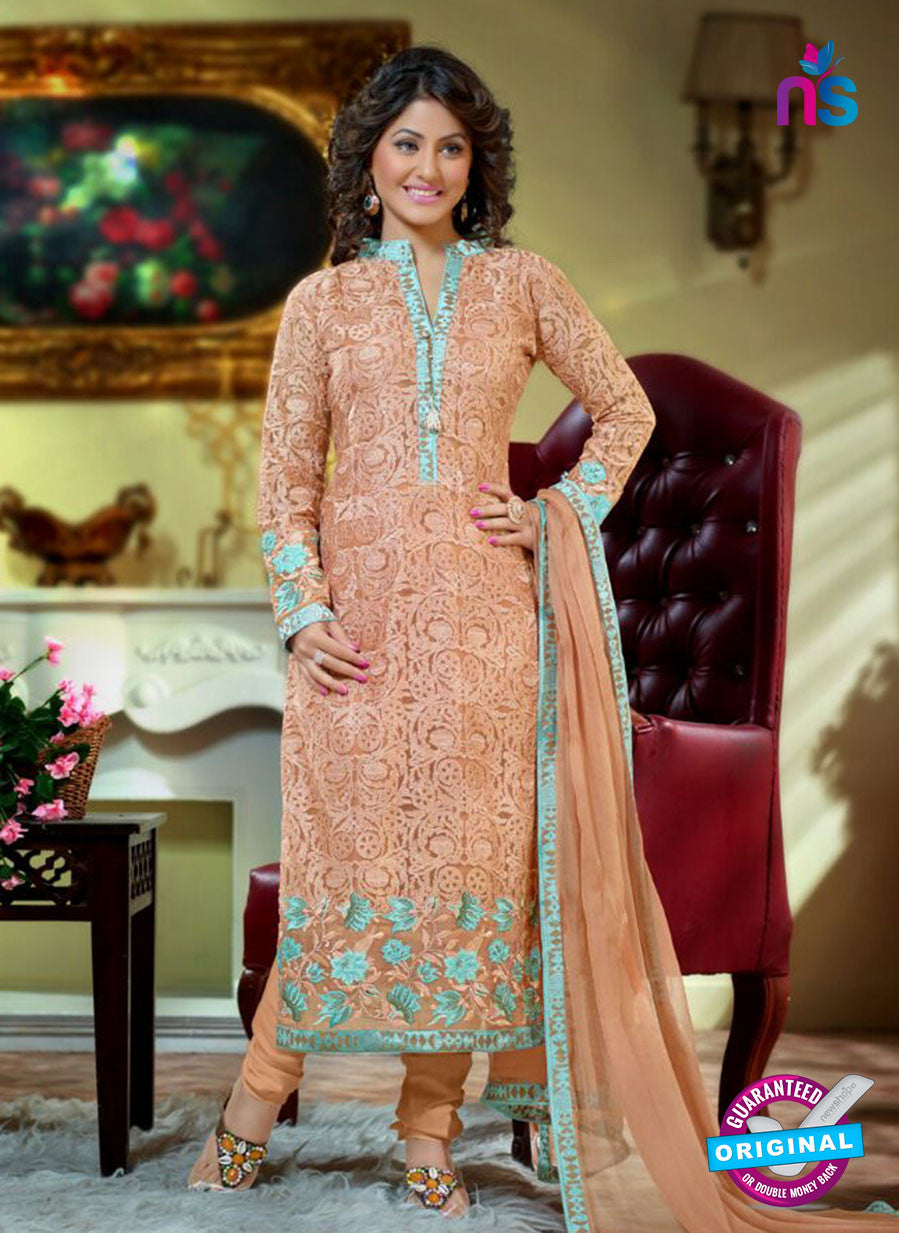 NS10733 Peach and Sky Blue Party Wear Georgette Long Straight Suit