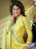 NS10734 Yellow and Multicolor Party Wear Georgette Long Straight Suit
