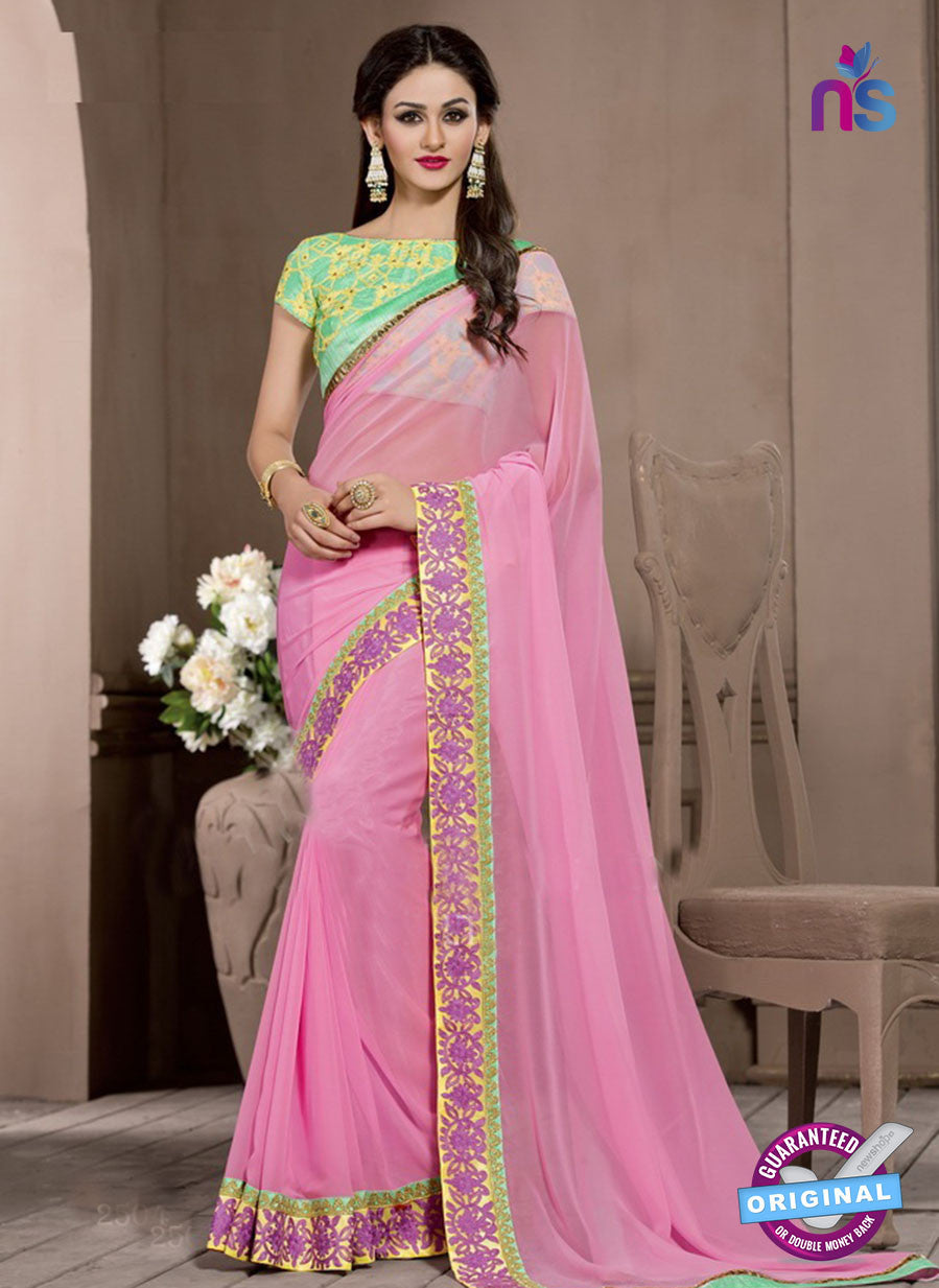 AZ 2286 Pink Georgette Fancy Party Wear Saree