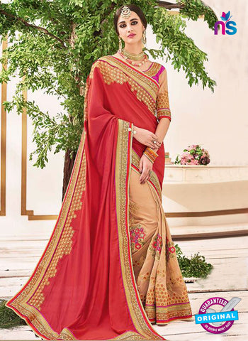 AZ 5223 Brown And Red Fancy Georgette And Net Party Wear Saree