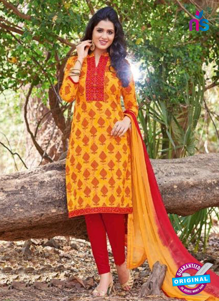 KalaKirti 2506 Yellow and Red Cotton Designer Suit