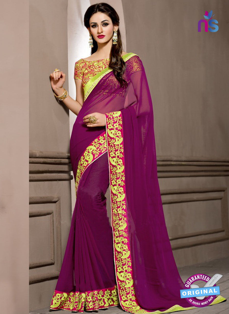 AZ 2288 Dark Purple Viscose Fancy Party Wear Saree