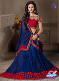 AZ 2289 Blue and Red Georgette Fancy Party Wear Saree - Sarees - NEW SHOP