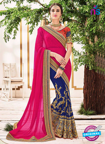 AZ 5224 Magenta And Blue Fancy Georgette And Net Party Wear Saree