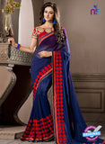 AZ 2289 Blue and Red Georgette Fancy Party Wear Saree