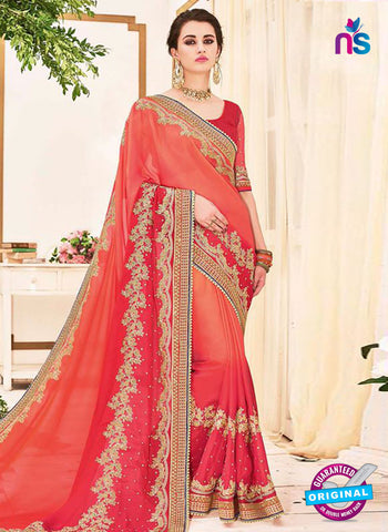 AZ 5225 Orange And Pink Fancy Georgette And Net Party Wear Saree