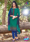KalaKirti 2509 Blue And Green Cotton Designer Suit