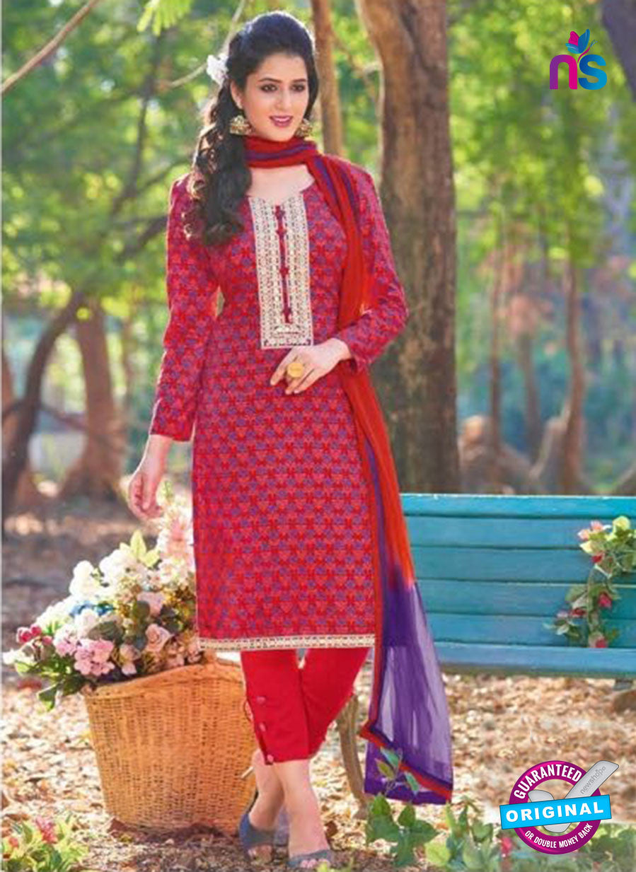 KalaKirti 2510 Red And Purple Cotton Designer Suit