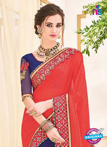 AZ 5229 Red And Blue Fancy Georgette And Net Party Wear Saree