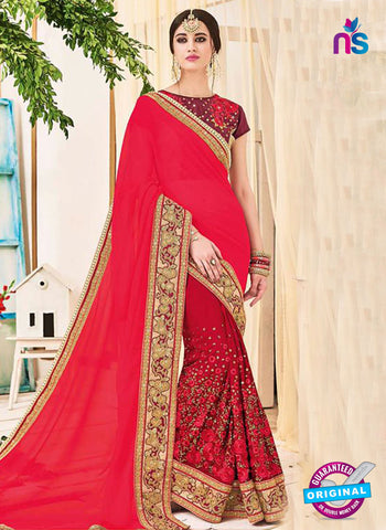 AZ 5231 Red Fancy Georgette And Net Party Wear Saree
