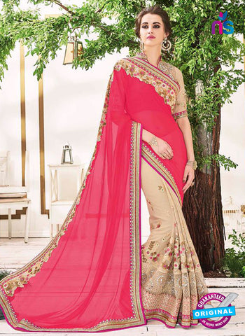 AZ 5232 Red And Beige Fancy Georgette And Net Party Wear Saree