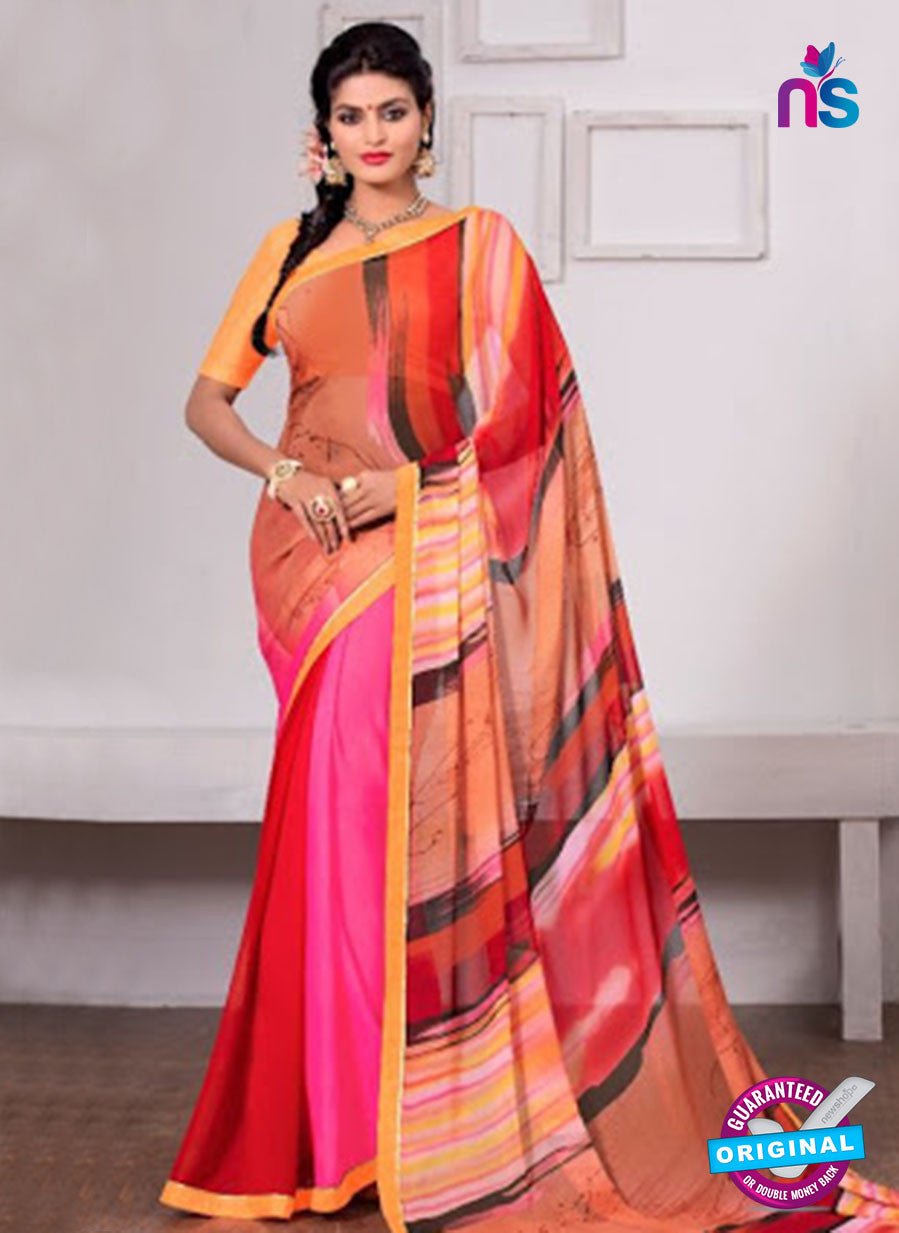 AZ 3345 Red and Pink Georgette Fancy Saree