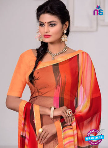 AZ 3345 Red and Pink Georgette Fancy Saree - Sarees - NEW SHOP