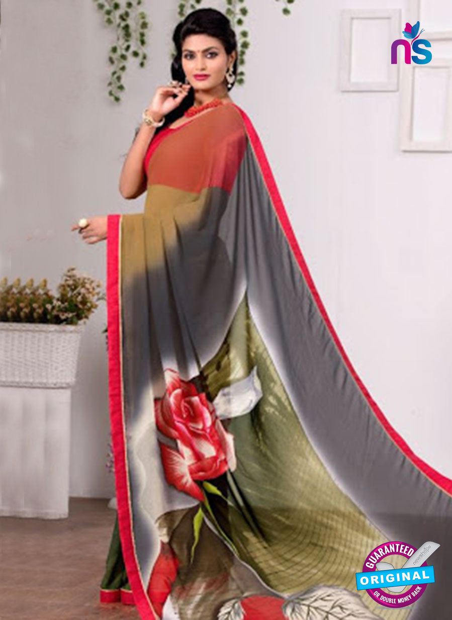 AZ 3346 Grey and Green Georgette Fancy Saree