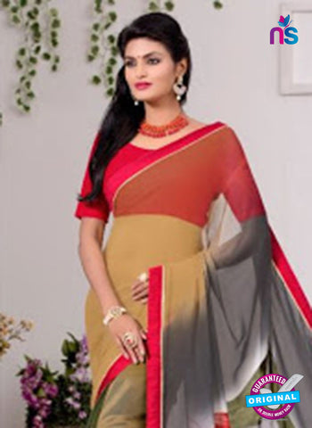 AZ 3346 Grey and Green Georgette Fancy Saree - Sarees - NEW SHOP
