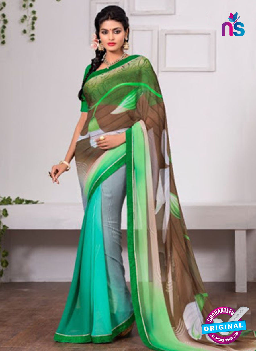 AZ 3347 Green and Brown Georgette Fancy Saree