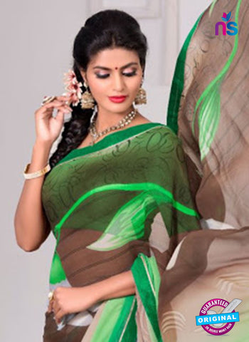 AZ 3347 Green and Brown Georgette Fancy Saree - Sarees - NEW SHOP