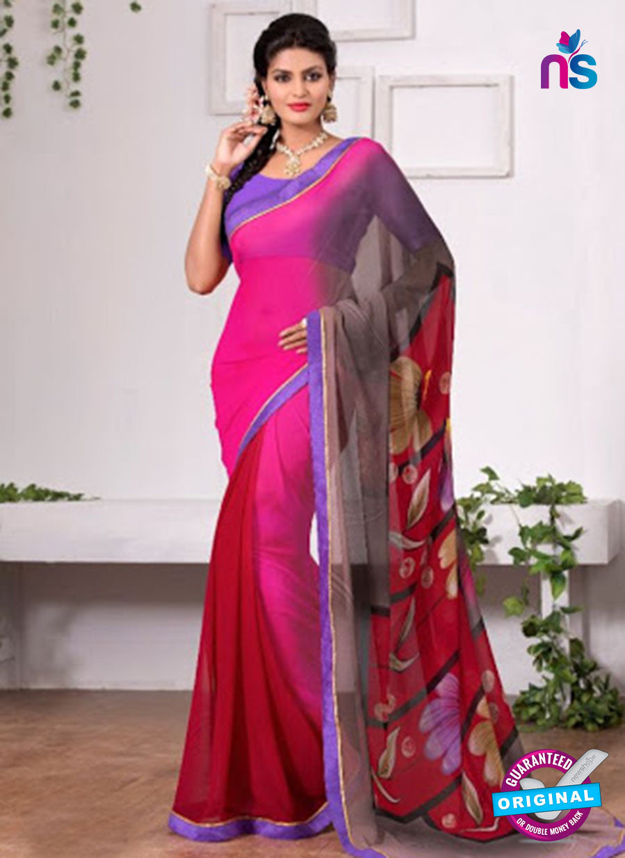 AZ 3348 Pink and Maroon Georgette Fancy Saree