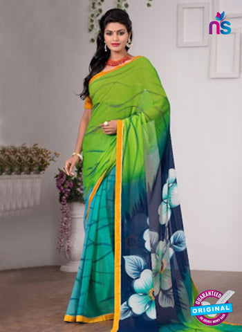 AZ 3351 Sky Blue and Green Georgette Fancy Saree