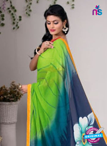 AZ 3351 Sky Blue and Green Georgette Fancy Saree - Sarees - NEW SHOP