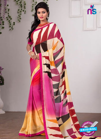 AZ 3352 Pink and Yellow Georgette Fancy Saree