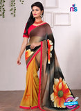 AZ 3354 Yellow and Black Georgette Fancy Saree