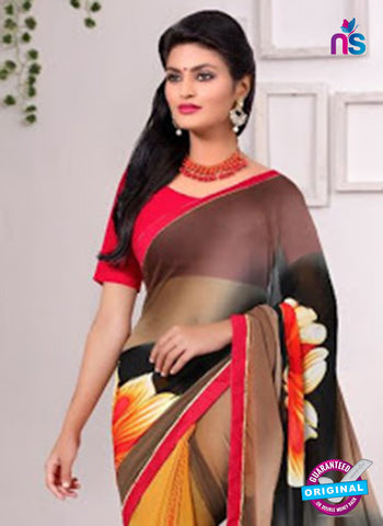 AZ 3354 Yellow and Black Georgette Fancy Saree - Sarees - NEW SHOP